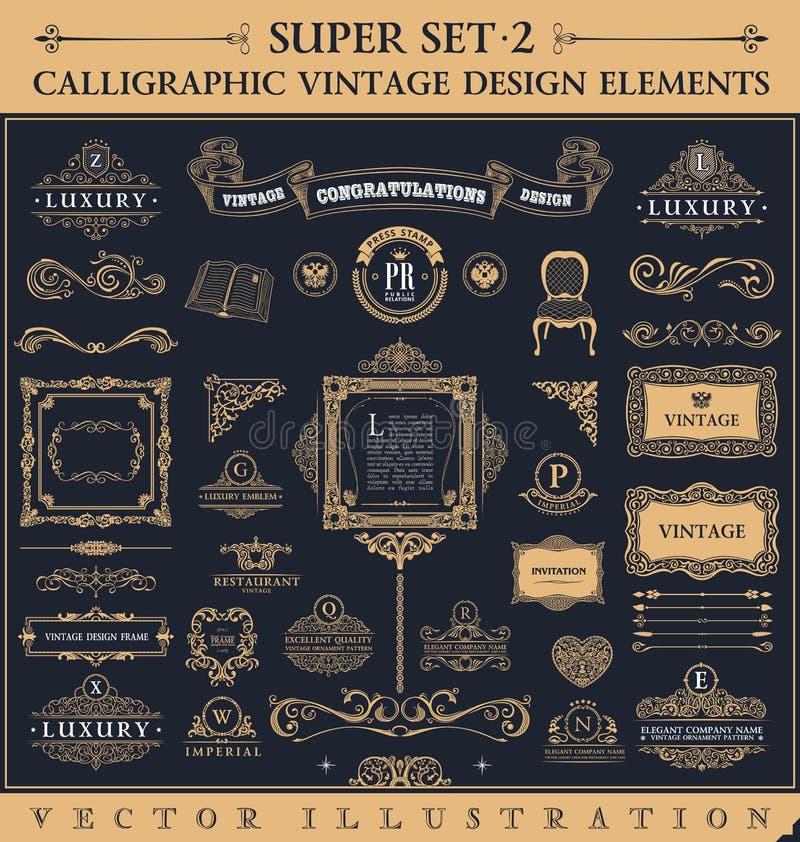 Elementi d'annata calligrafici Insieme di barocco di vettore royalty illustrazione gratis