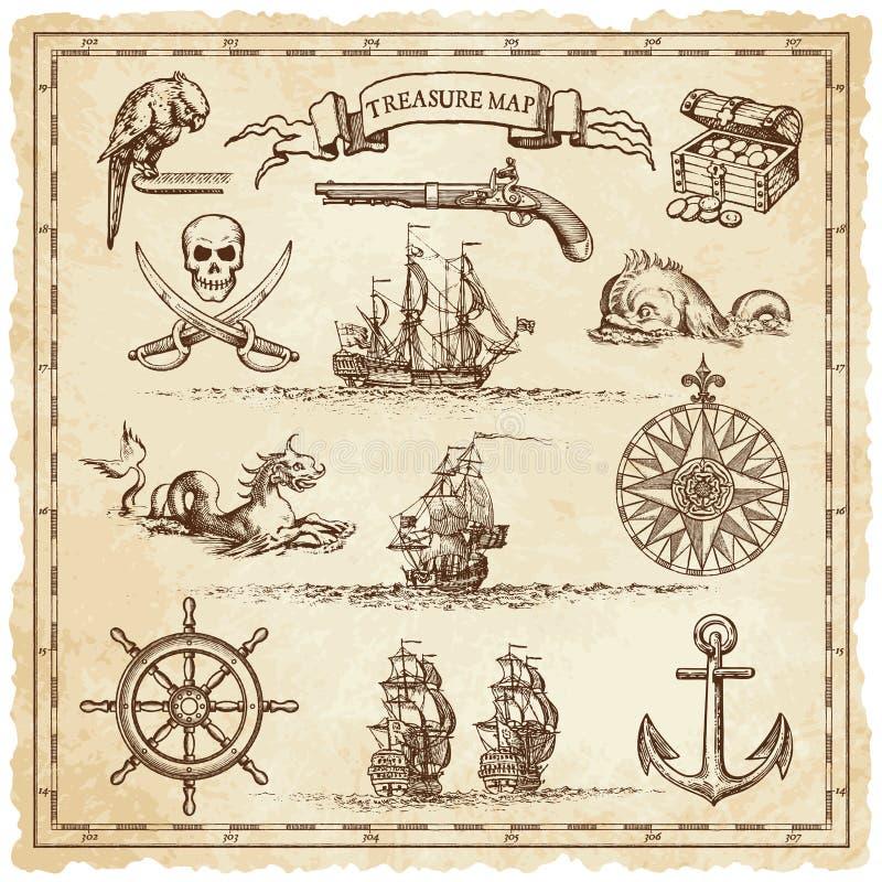 Elementi d'annata dell'illustrazione della mappa del pirata royalty illustrazione gratis