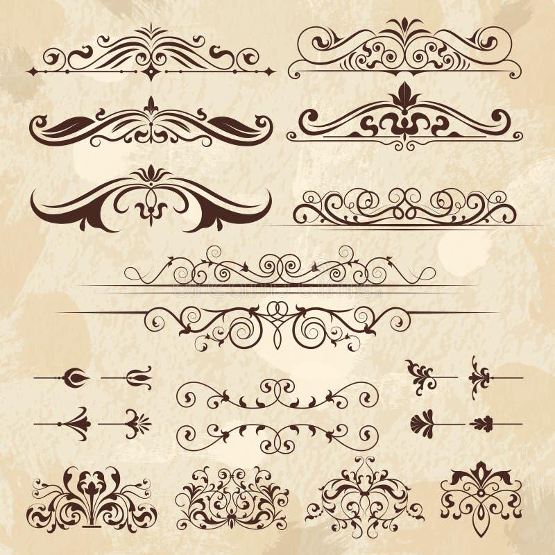 Elementi d'annata della struttura Confini di calligrafia e modello classico a filigrana di progettazione di vettore degli angoli  illustrazione vettoriale