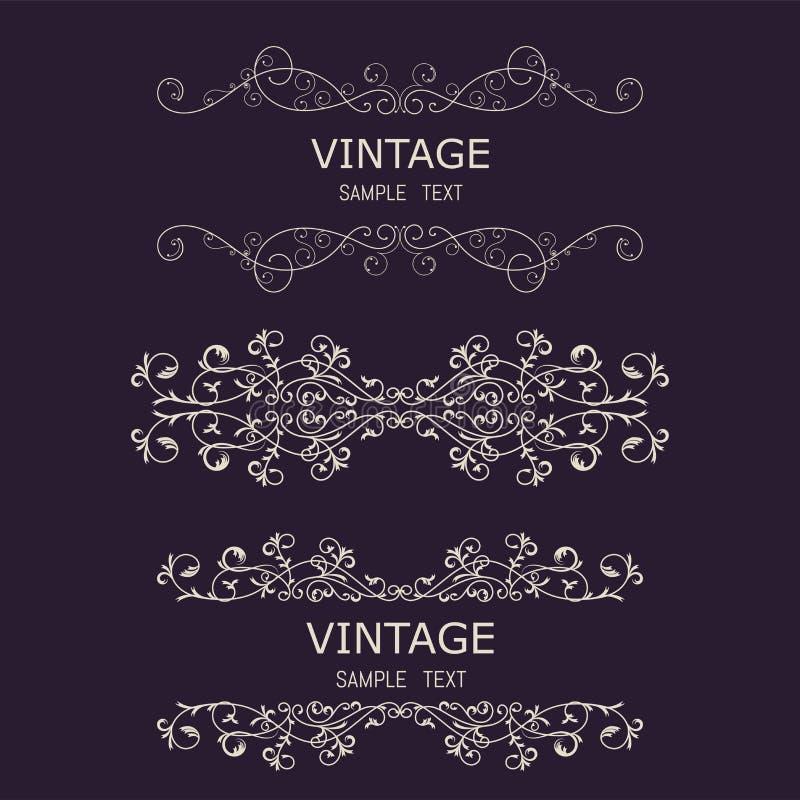 Elementi d'annata delle decorazioni Ornamenti e strutture calligrafici di Flourishes Retro raccolta di progettazione di stile per illustrazione vettoriale