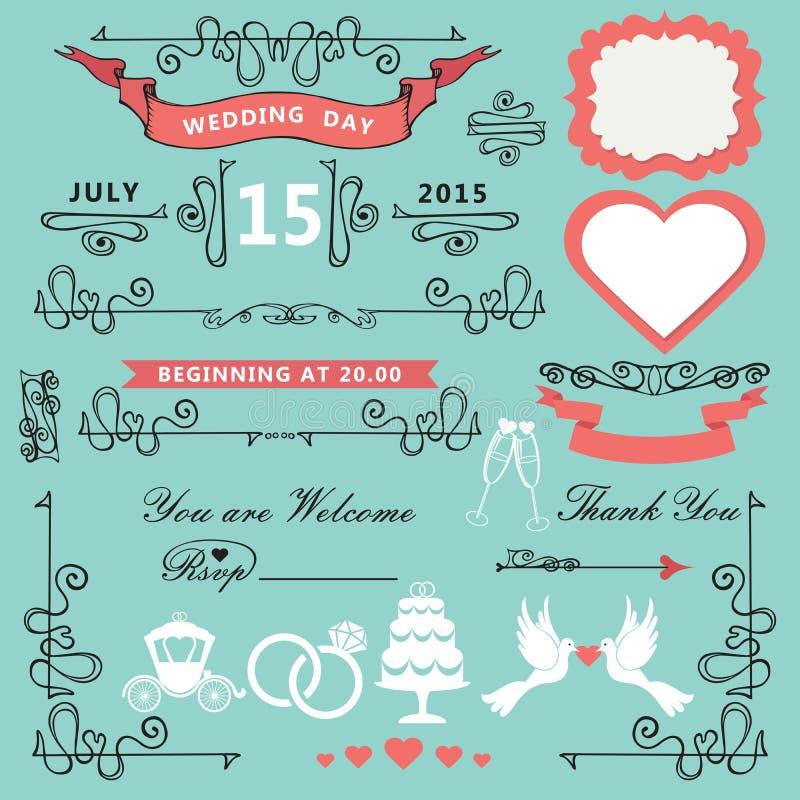 Elementi d'annata di progettazione di nozze Insieme decorato illustrazione vettoriale