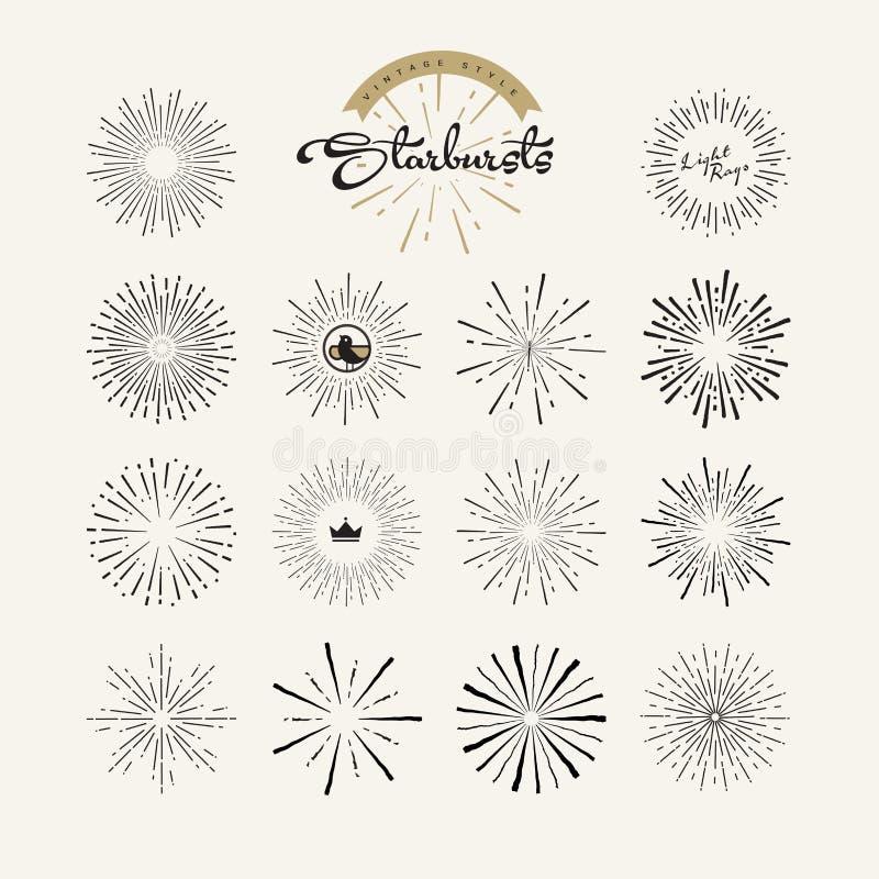Elementi d'annata di progettazione di stile di Starbursts per il grafico ed il web design royalty illustrazione gratis