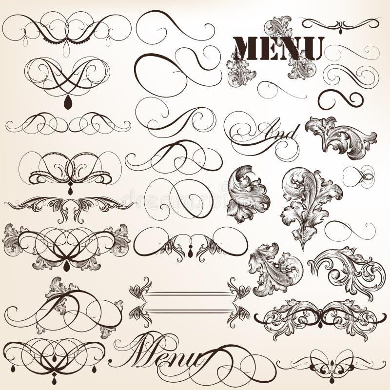 Elementi d'annata di progettazione di vettore calligrafico e decorazioni della pagina royalty illustrazione gratis