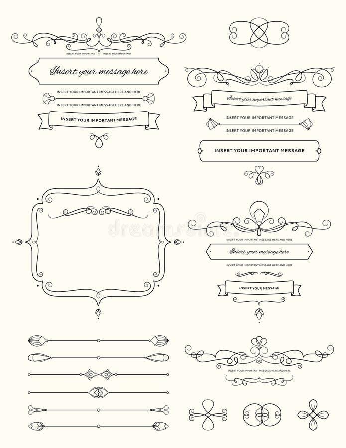 Elementi d'annata due di progettazione di calligrafia immagini stock libere da diritti