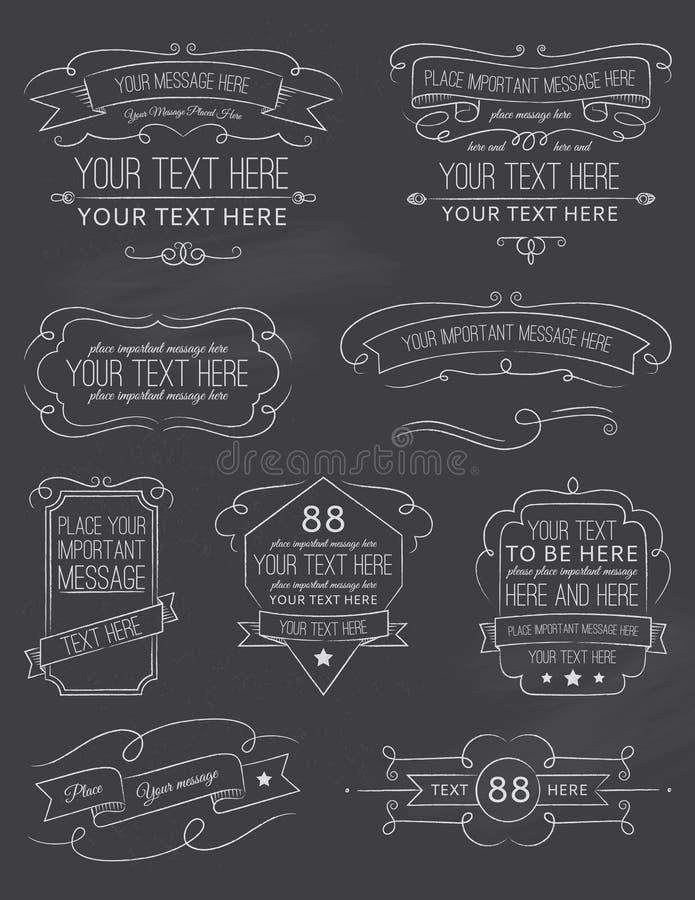 Elementi d'annata sei della lavagna di calligrafia immagine stock