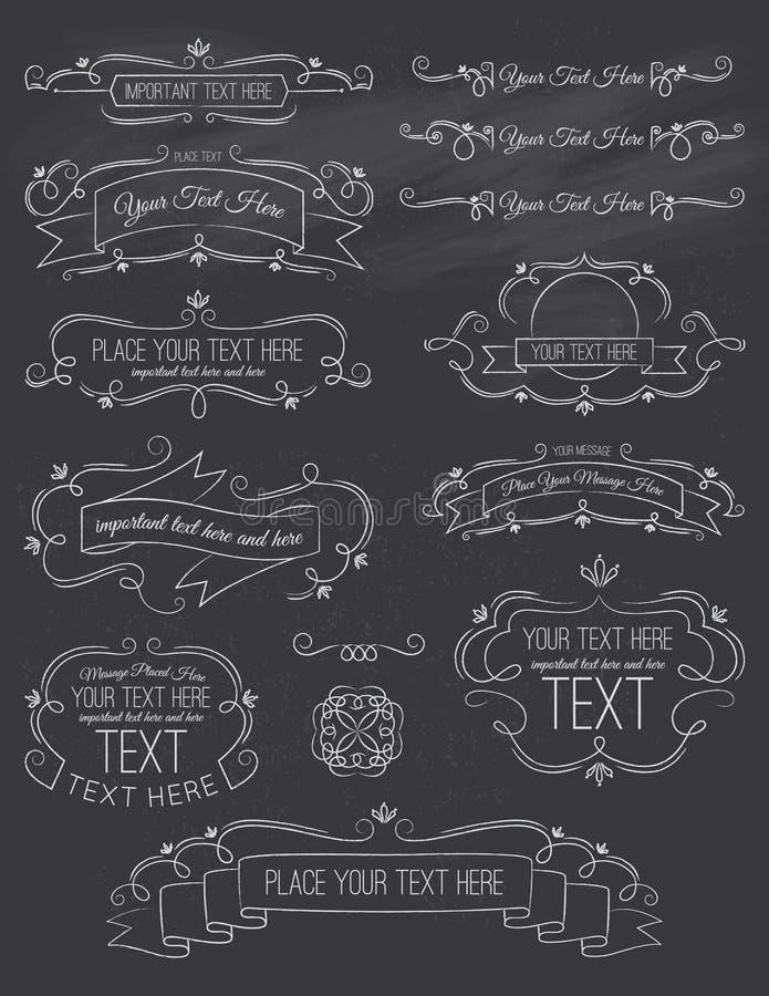 Elementi d'annata sette della lavagna di calligrafia immagini stock libere da diritti