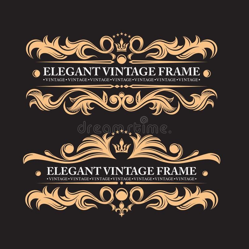 Elementi d'annata su un fondo nero Confine e struttura dorati Ornamento araldico lussuoso della foglia Monogramma di nozze illustrazione di stock