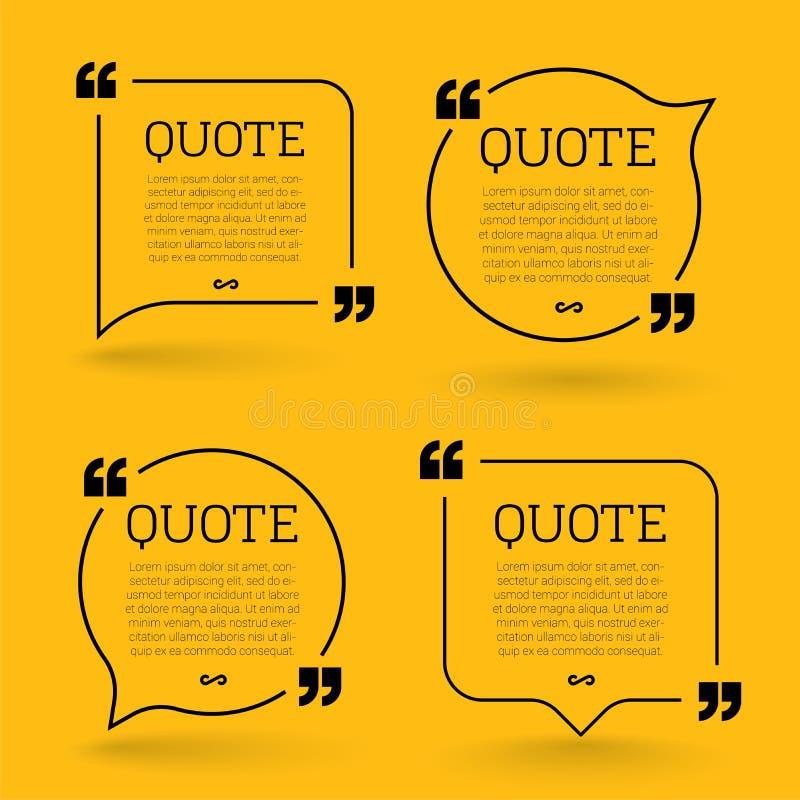 Elementi d'avanguardia di progettazione moderna di citazione del blocco Cornice di testo creativa di commento e di citazione royalty illustrazione gratis
