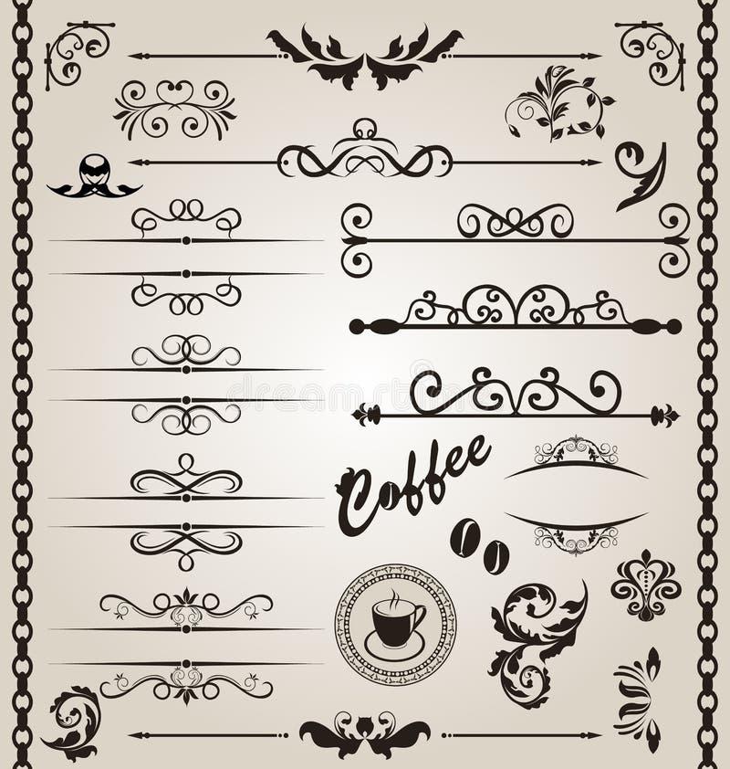 Elementi decorati floreali stabiliti di disegno (7) illustrazione vettoriale
