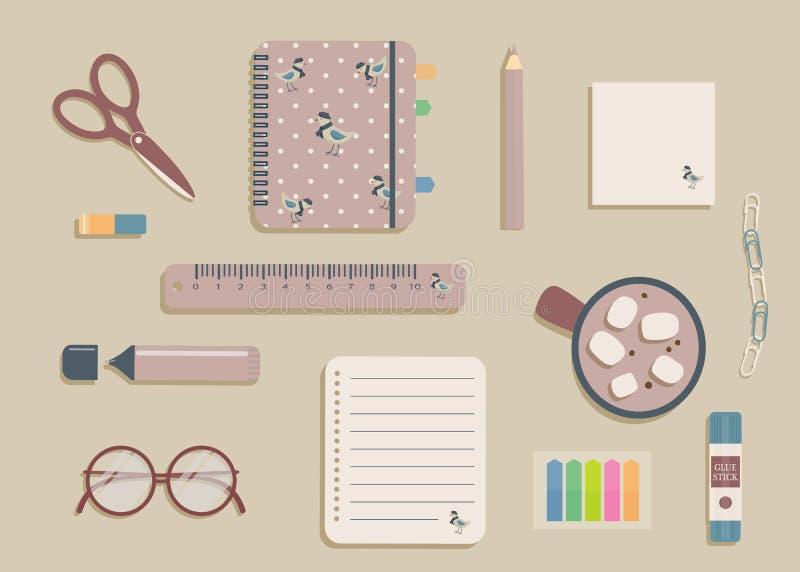 Elementi decorativi aziendali in colori sfumati Beige khaki e lilac color Notebook con uccelli e matite kawaiani e telefono cellu royalty illustrazione gratis