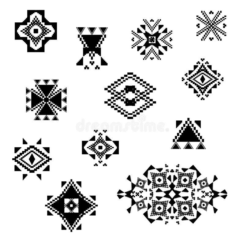 Elementi decorativi in bianco e nero tribali di vettore per progettazione Stile ornamentale azteco illustrazione vettoriale