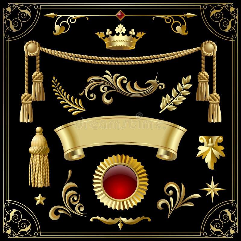 Elementi decorativi d'annata di progettazione dell'oro isolati sul nero illustrazione di stock
