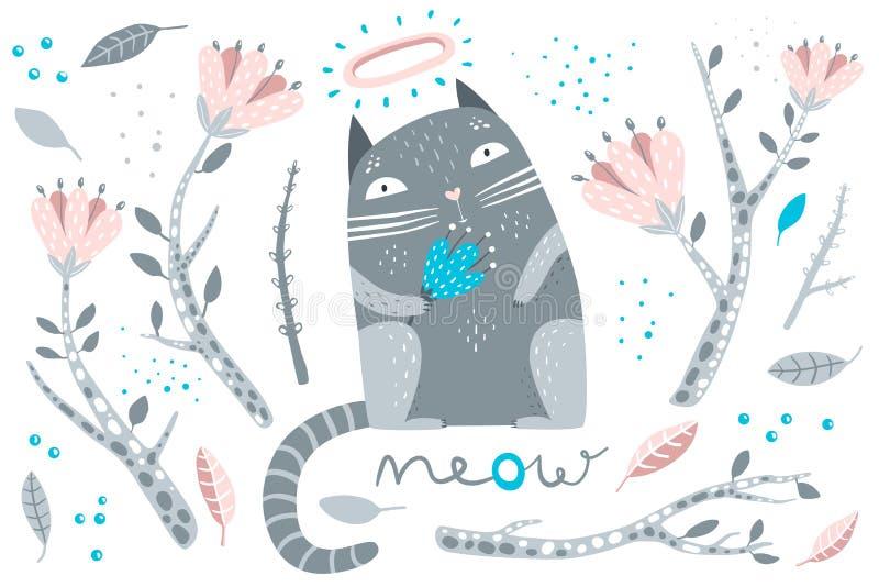 Elementi decorativi dei fiori e del gatto illustrazione vettoriale
