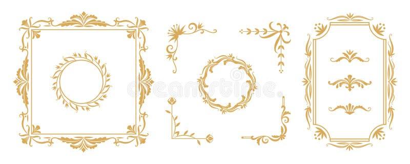 Elementi decorativi della struttura Confini ornamentali floreali d'annata e divisori per le carte dell'invito ed accogliere Vetto illustrazione di stock