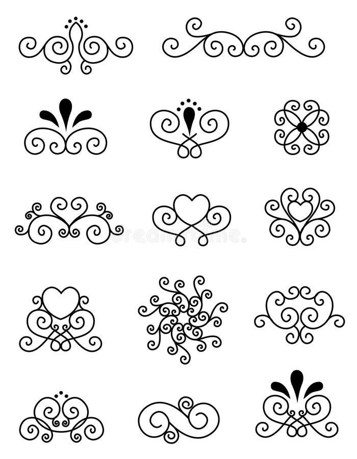 Elementi decorativi di disegno   illustrazione vettoriale