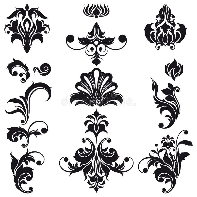 Elementi decorativi di disegno floreale royalty illustrazione gratis