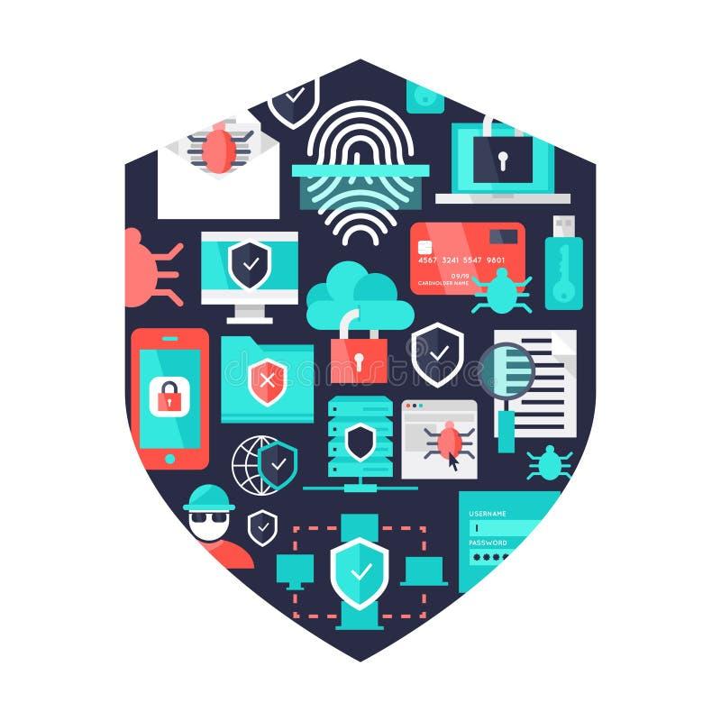 Elementi decorativi di sicurezza informatica illustrazione vettoriale