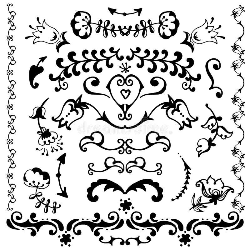 Elementi decorativi disegnati a mano di vettore royalty illustrazione gratis