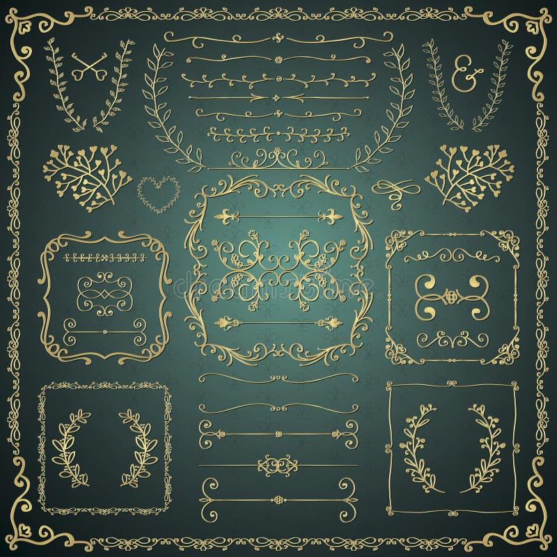 Elementi decorativi disegnati a mano dorati di progettazione di scarabocchio royalty illustrazione gratis
