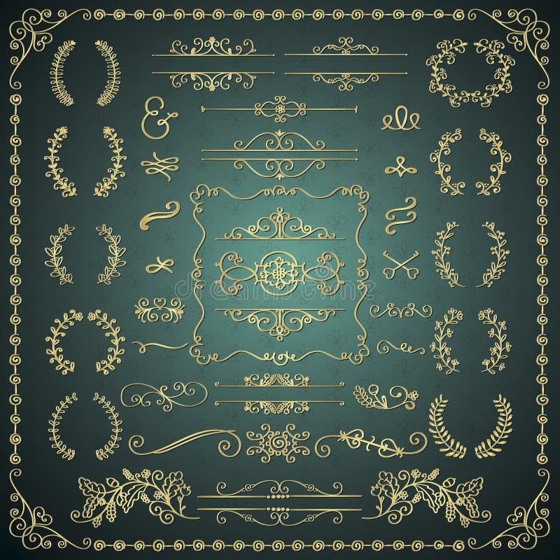 Elementi decorativi disegnati a mano dorati di progettazione di scarabocchio illustrazione vettoriale