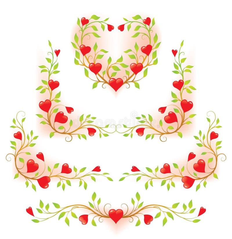 Elementi decorativi floreali romantici con i cuori fotografia stock