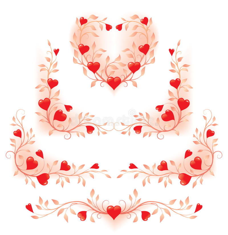 Elementi decorativi floreali romantici con i cuori immagini stock libere da diritti