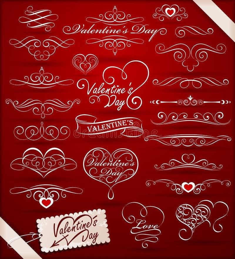 Elementi decorativi il giorno del biglietto di S. Valentino royalty illustrazione gratis