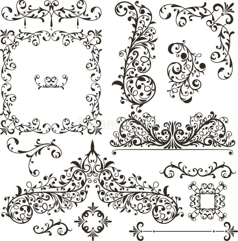 Elementi decorativi - retro stile d'annata illustrazione vettoriale