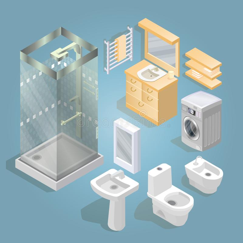 Elementi del bagno ed insieme isometrico dell'icona della mobilia illustrazione vettoriale