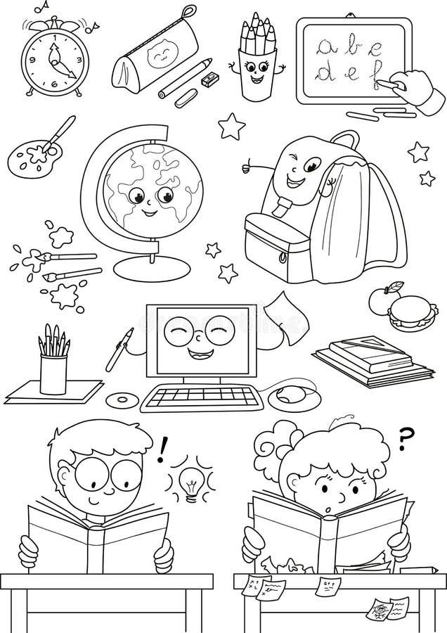 Elementi del banco di coloritura per i bambini royalty illustrazione gratis