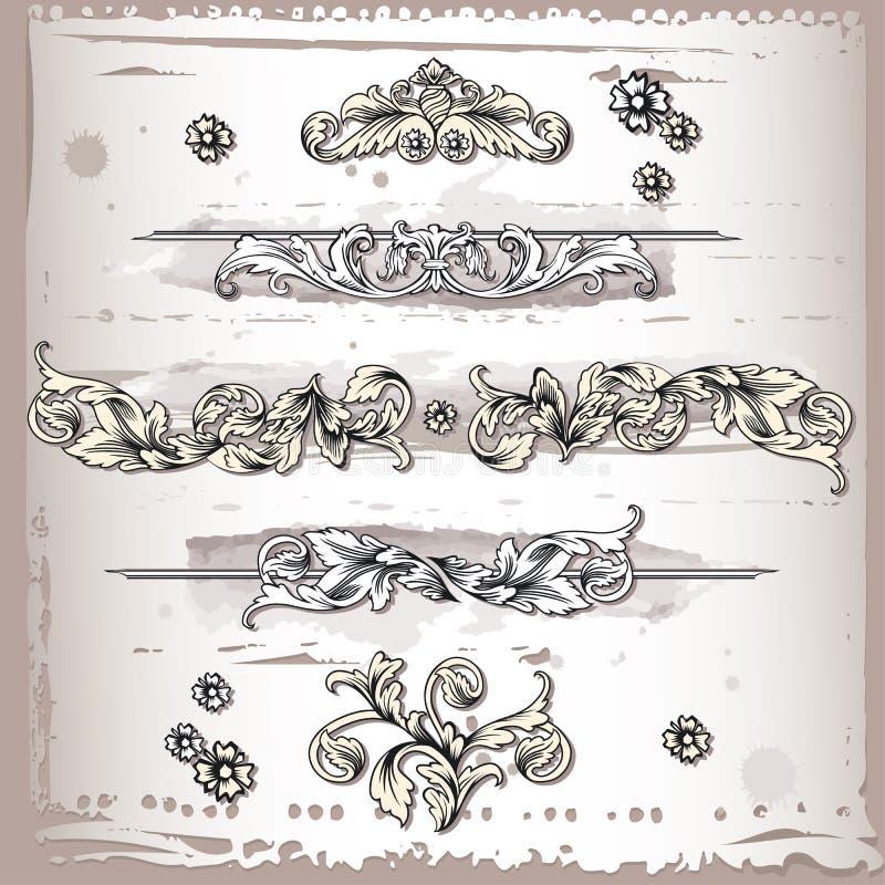 Elementi del blocco per grafici di disegno floreale illustrazione di stock