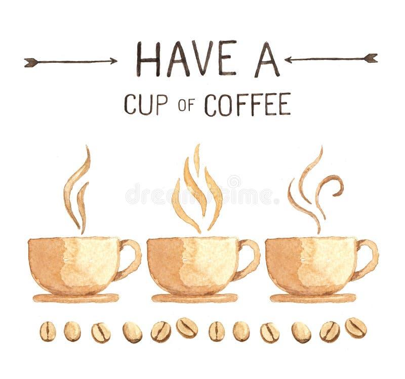 Elementi del caffè, alta risoluzione della pittura dell'acquerello royalty illustrazione gratis