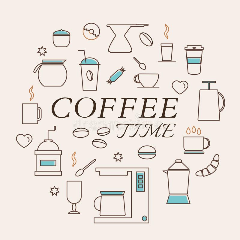 Elementi del caffè messi nello stile lineare illustrazione di stock