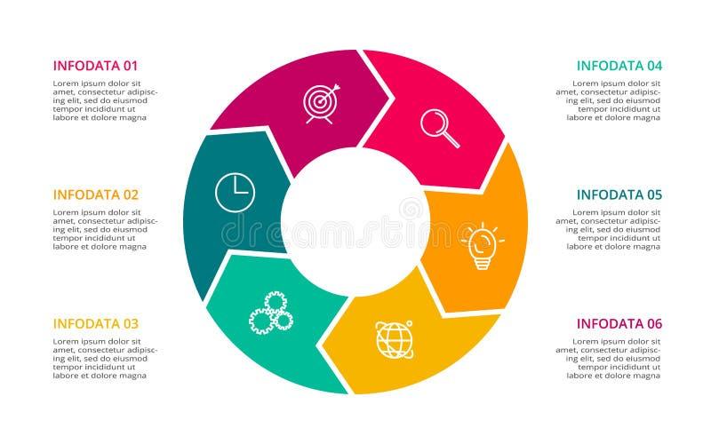 Elementi del cerchio del grafico, del diagramma con 6 punti, delle opzioni, delle parti o dei processi Modello per infographic, p illustrazione di stock