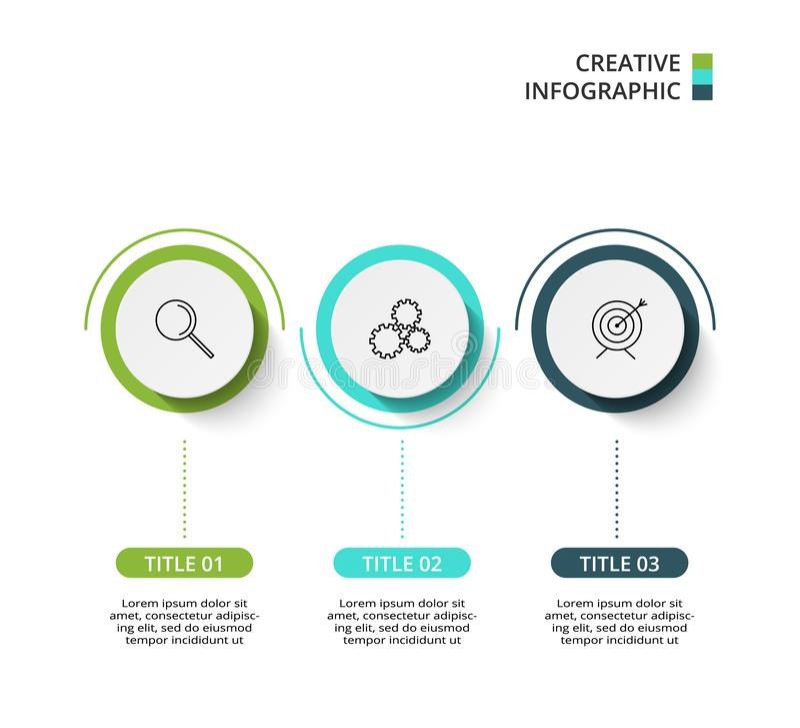 Elementi del cerchio del grafico, del diagramma con 3 punti, delle opzioni, delle parti o dei processi Modello per infographic, p royalty illustrazione gratis