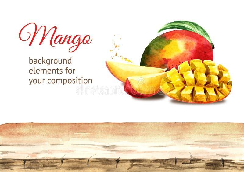Elementi del fondo del mango Illustrazione disegnata a mano dell'acquerello illustrazione di stock