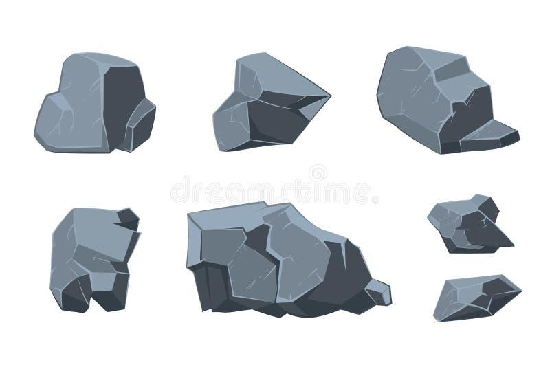 Elementi del fumetto di vettore della roccia illustrazione di stock