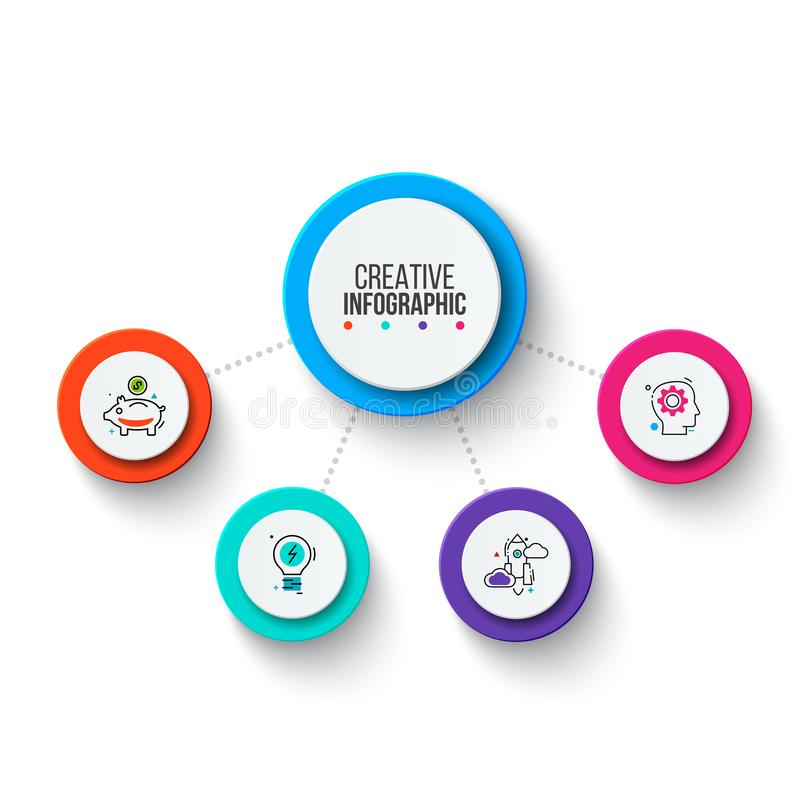 Elementi del grafico dell'attivit? del cerchio Infographics di processo aziendale con 4 punti, parti o opzioni Presentazione astr fotografie stock