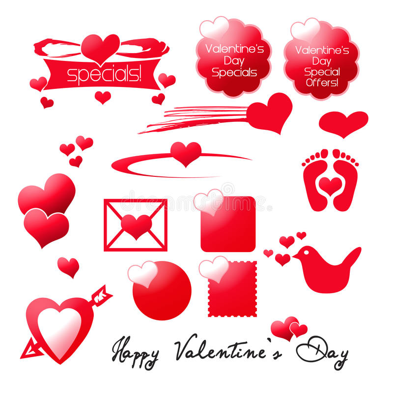 Elementi del grafico di giorno dei biglietti di S. Valentino illustrazione vettoriale