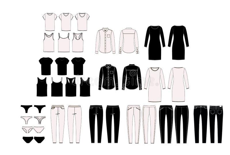 Elementi del guardaroba del ` s della donna per la combinazione Insieme dell'abbigliamento del ` s della donna di vettore Guardar royalty illustrazione gratis