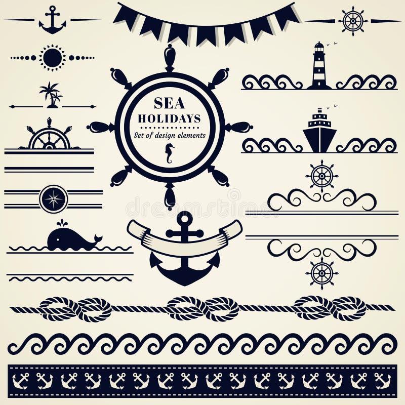 Elementi del mare e nautici di progettazione Insieme di vettore illustrazione di stock