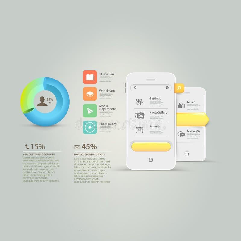 Elementi del modello di progettazione del sito Web: Elementi di Infographics: Telefono cellulare, smartphone con il grafico ed ico illustrazione vettoriale