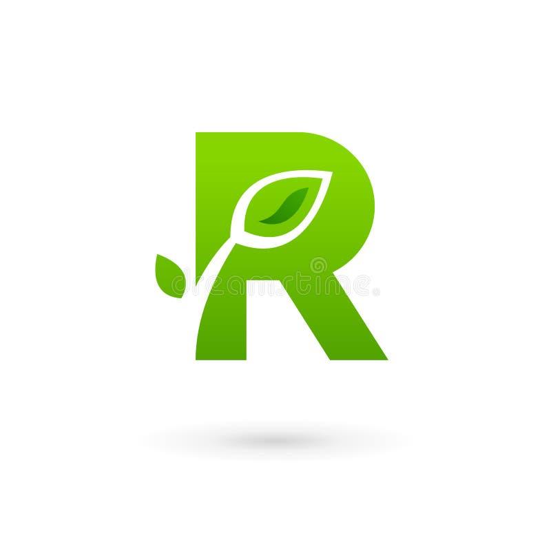 Elementi del modello di progettazione dell'icona di logo delle foglie di eco della lettera R royalty illustrazione gratis
