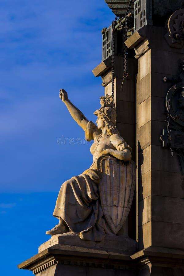 Elementi del monumento a Columbus a Barcellona immagini stock