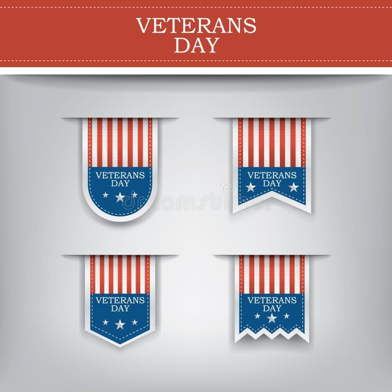 Elementi del nastro di giornata dei veterani per i siti Web illustrazione vettoriale