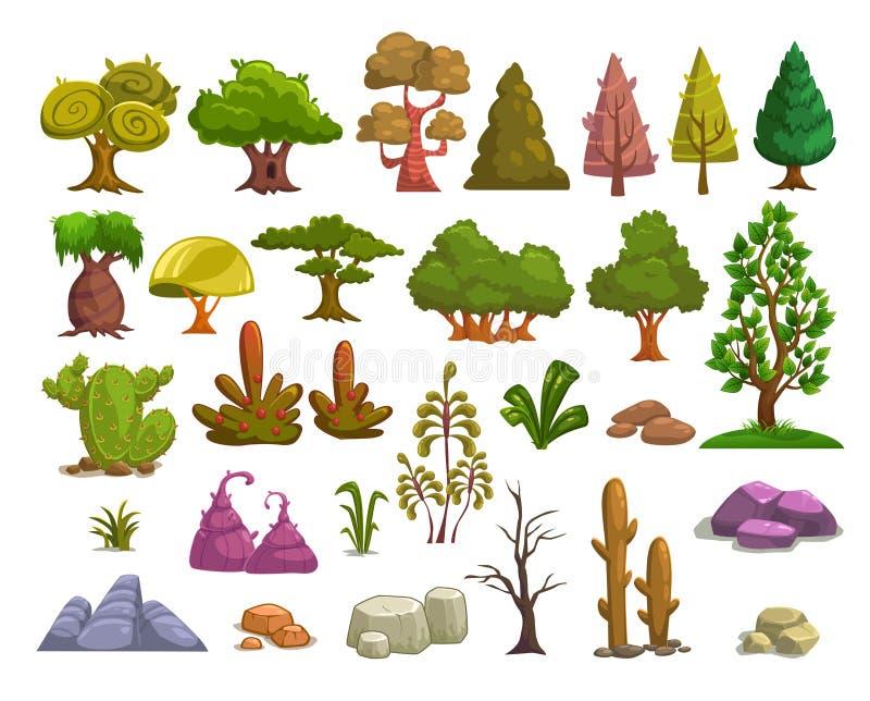 Elementi del paesaggio della natura del fumetto royalty illustrazione gratis