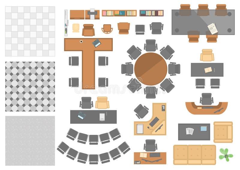 Elementi del posto di lavoro dell'ufficio - l'insieme del vettore moderno obietta illustrazione di stock