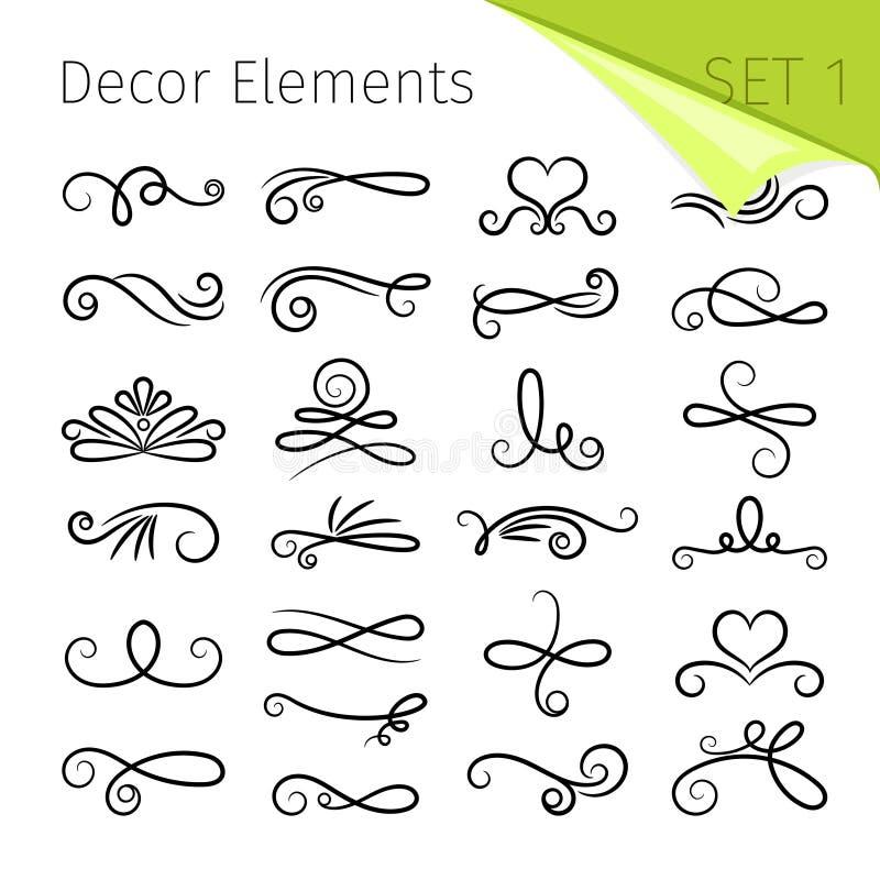 Elementi del rotolo di calligrafia Il retro flourish decorativo ha turbinato elementi di vettore per le lettere, decorazioni di t illustrazione vettoriale