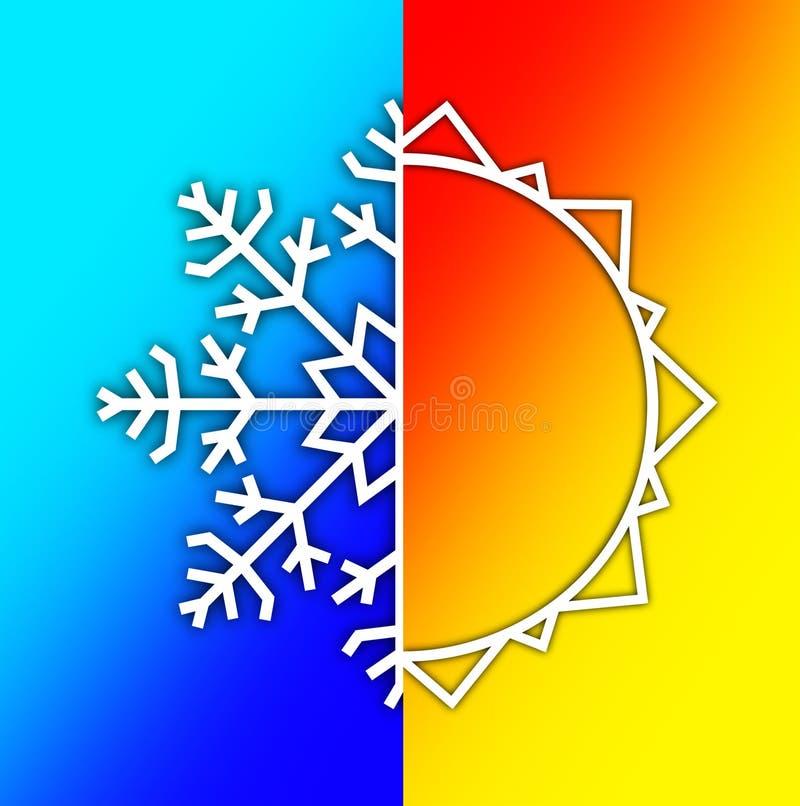 Elementi del tempo - estate Sun e neve di inverno illustrazione di stock