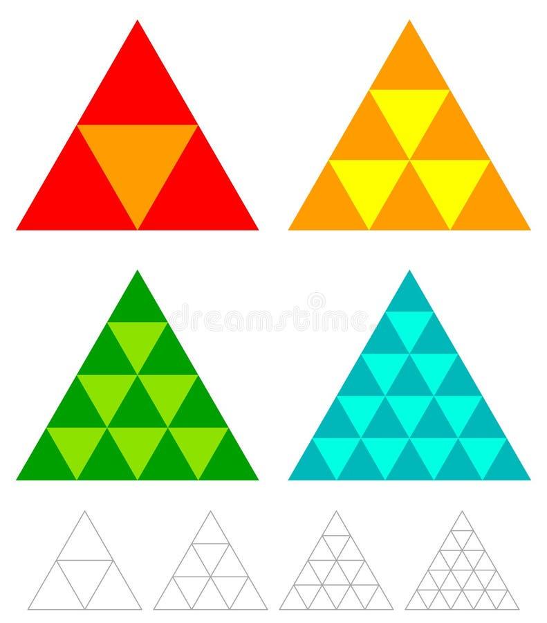 Elementi del triangolo del mosaico con la griglia del wireframe tessellazione, mosa illustrazione di stock
